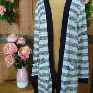 Long Sleeve Stripped Cardigan